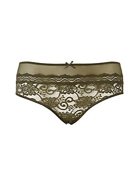 Plus Size Mesh-Trim Lace Cheeky Panties