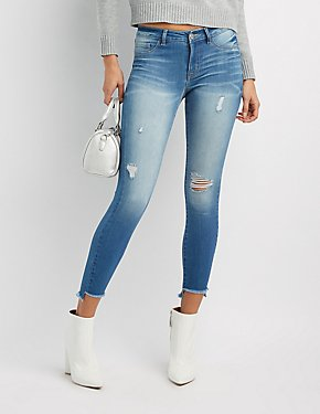 Refuge Skin Tight Legging Destroyed Jeans