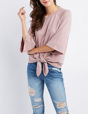 Bell Sleeve Tie-Front Top