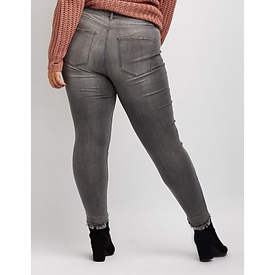 Plus Size Refuge Destroyed Skin Tight Legging Jeans
