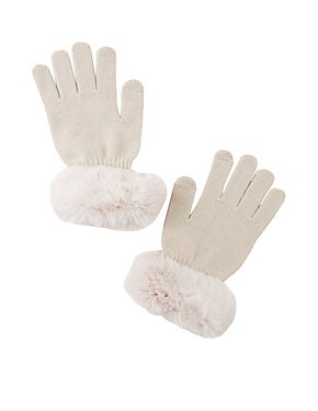 Faux Fur-Trim Tech Gloves
