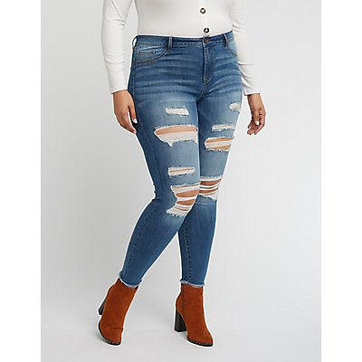 Plus Size Refuge Skin Tight Legging Destroyed Jeans | Tuggl