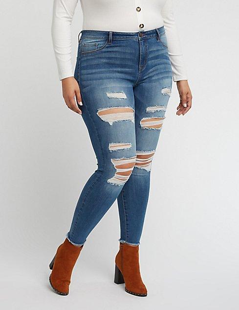 0f16c2cff3 Plus Size Refuge Skin Tight Legging Destroyed Jeans at Charlotte ...