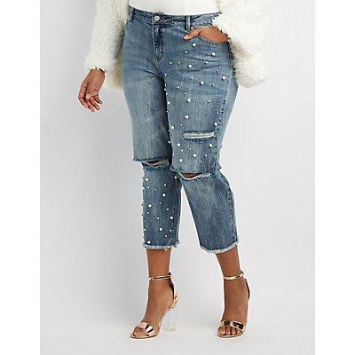Plus Size Refuge Destroyed Pearl Applique Crop Jeans