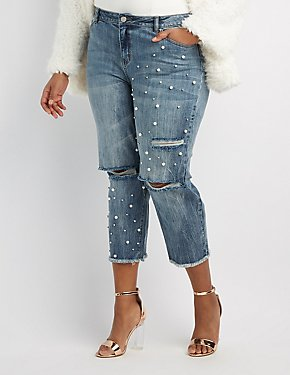 Plus Size Refuge Destroyed Pearl Applique Crop Jeans
