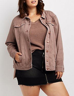 Plus Size Refuge Oversize Colored Denim Jacket