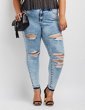 Plus Size Refuge Acid Wash Skin Tight Legging Jeans