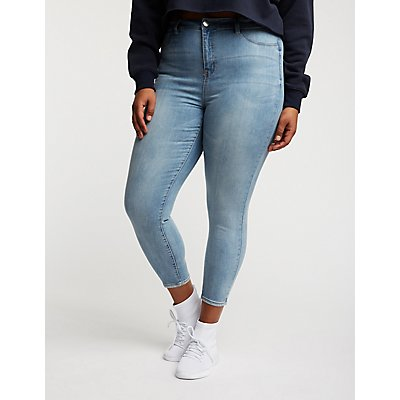Plus Size Refuge Faded Skin Tight Legging Jeans