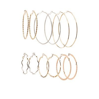 Hoop Earrings - 6 Pack