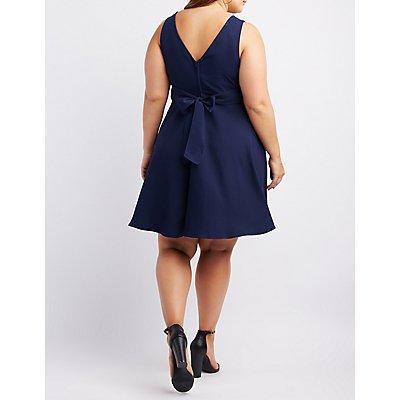 Plus Size V-Neck Skater Dress