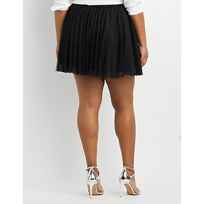 Plus Size Waistband Tulle Skater Skirt