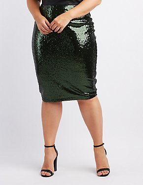 Plus Size Scalloped Sequin Pencil Skirt