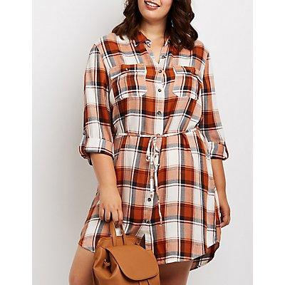 Plus Size Plaid Open-Back Shirt Dress