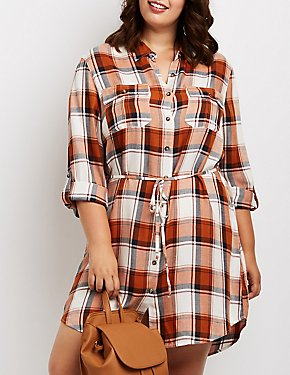 Plus Size Plaid Open-Back Shirt Dress