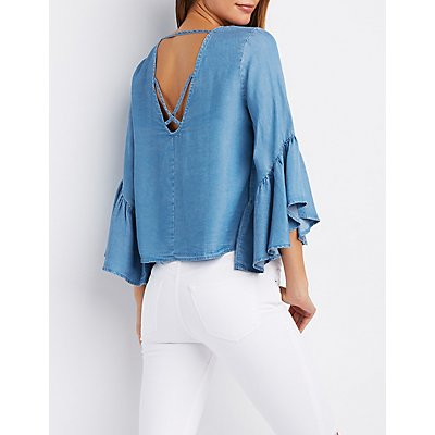 Chambray Flutter Sleeve Top