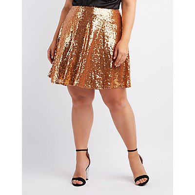 Plus Size Sequin Skater Skirt