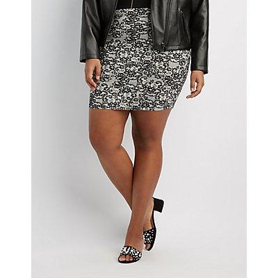 Plus Size Lace Print Bodycon Mini Skirt