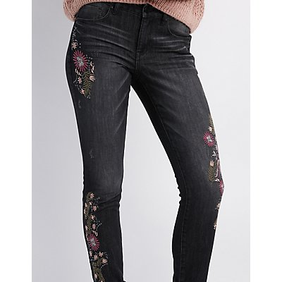Refuge Embroidered Destroyed Skinny Jeans