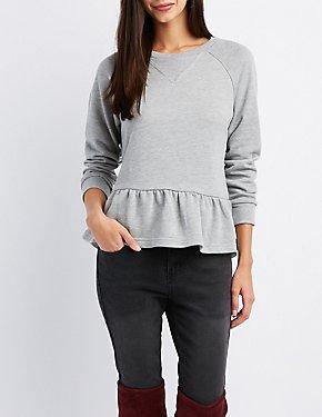 Peplum Tie-Back Sweatshirt