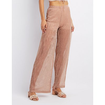 Micro Pleated Shimmer Palazzo Pants by Charlotte Russe