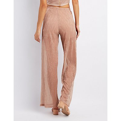 Micro Pleated Shimmer Palazzo Pants
