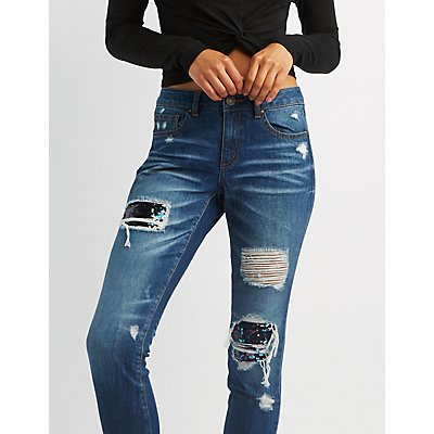 Refuge Sequins Inset Destroyed Skinny Jeans