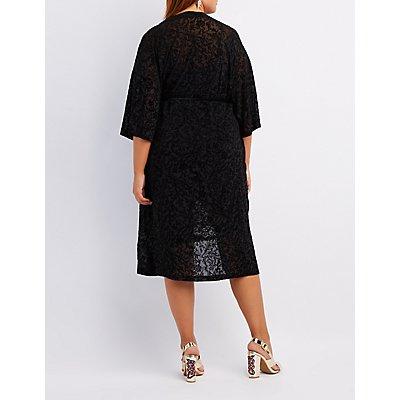 Plus Size Flocked Velvet Tie-Front Kimono Duster