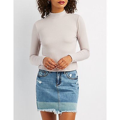 Mock Neck Ribbed Knit Top