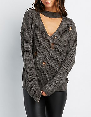 Shaker Stitch Distressed Mock Neck Cut-Out Sweater