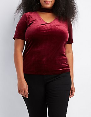 Plus Size Velvet Choker Neck Cut-Out Top