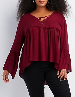 Plus Size Lattice-Front Babydoll Top