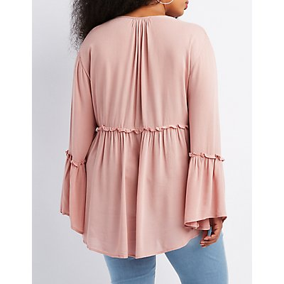Plus Size Lattice-Front Babydoll Blouse