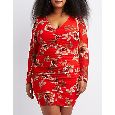 Plus Size Floral Ruched Bodycon Dress