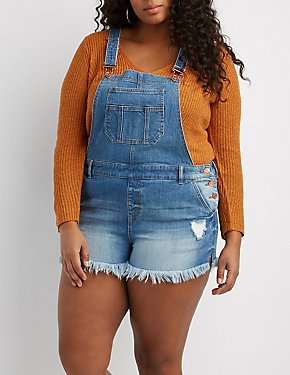 Plus Size Refuge Frayed Hem Denim Shortalls
