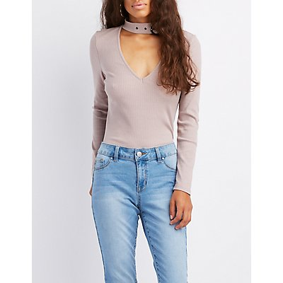 Ribbed Belted Choker Neck Top