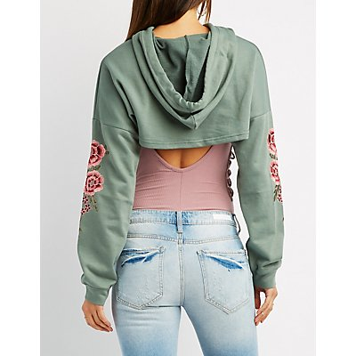 Embroidered Open Cropped Hoodie