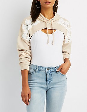 Embroidered-Trim Cropped Hoodie