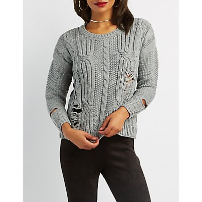 Distressed Cable Knit Pullover Sweater