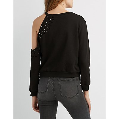Beaded Cut-Out Sweatshirt