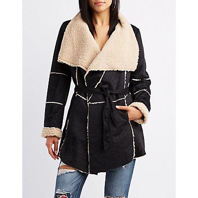 Faux Suede Sherpa Wrap Jacket