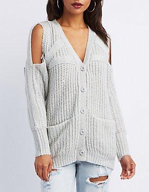 Cold-Shoulder Shaker Stitch Cardigan