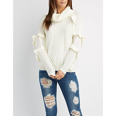 Ruffle-Trim Cowl Neck Sweater