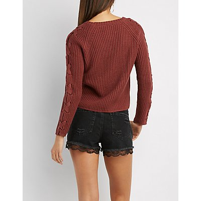 Lace-Up Detail Shaker Stitch Sweater