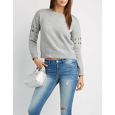 Destroyed Ribbed-Trim Sweater