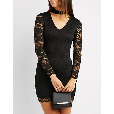 Mock Neck Lace Bodycon Dress