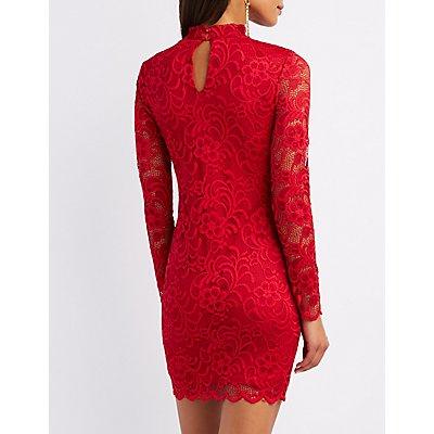 Mock Neck Lace Bodycon Dress