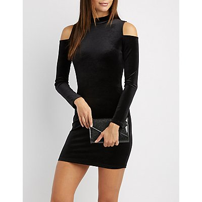 Velvet Cold Shoulder Bodycon Dress
