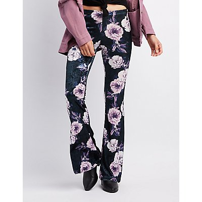 Floral Velvet Flare Pants