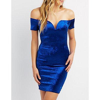 Notched Velvet Bodycon Dress