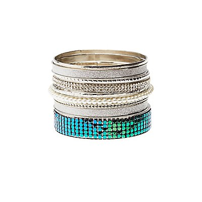 Embellished Bangle Bracelets - 9 Pack